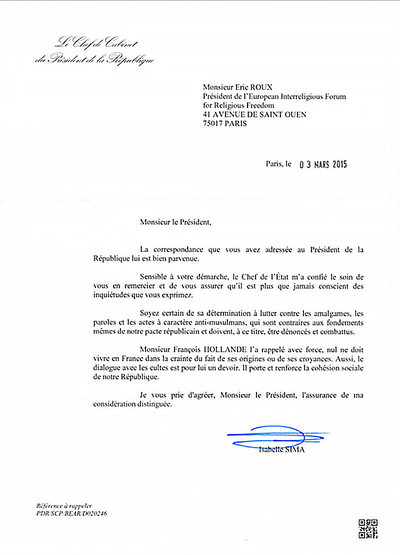 letter from French Precidency