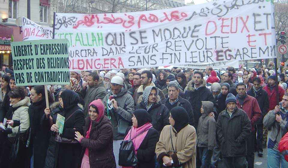 Muslim demonstration in Paris against Charlie Hebdo cartoons