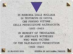 The plaque installed at the Risiera di San Sabba, Trieste